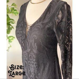 Shirt Black Lace Dress w/long sleeves